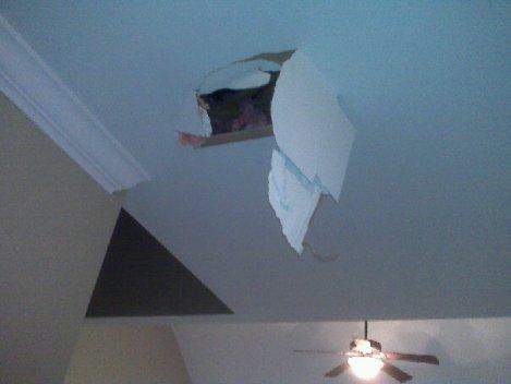 foot in ceiling